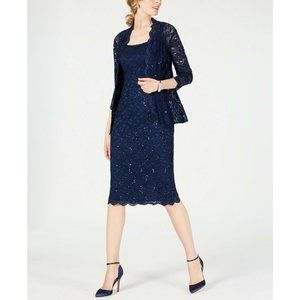Alex Evenings NEW Sequined Lace Sheath Dress